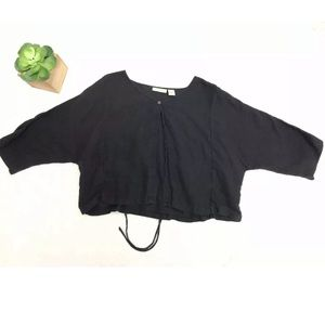 J. Jill Medium Black Crop Linen Cardigan B